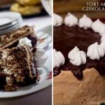 Tort mocno czekoladowy z bezami i suszonymi śliwkami